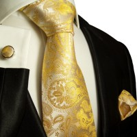 Paul Malone Shop - Yellow paisley necktie set 3pcs ...