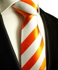 Orange tie silk striped 330 | ORDER NOW - Paul Malone Shop