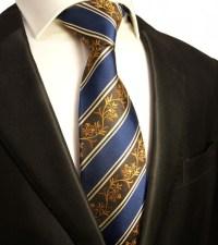 Blue mens tie floral striped | silk necktie - Paul Malone Shop