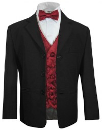 Boys suit black + burgundy red vest bow tie