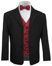 Boys suit black + burgundy red vest bow tie