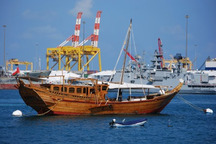 An Arabian dhow moored in Muscat harbour