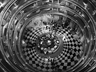 "Overhead shot of the busy lobby in ""Grand Hotel,"" 1932."