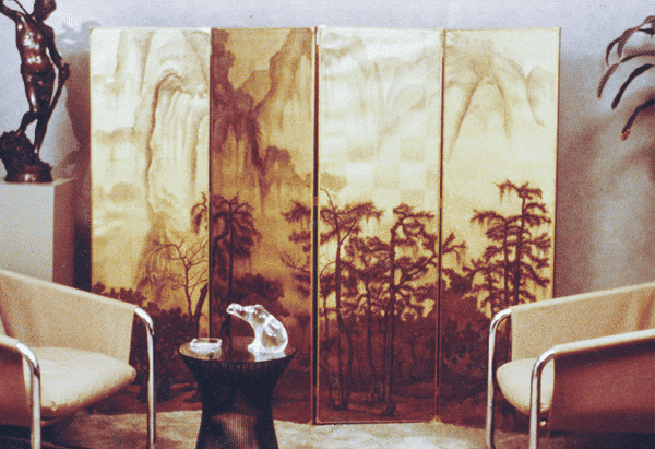 An early Asian inspired scenic on gold leaf as a screen. Circa 1979