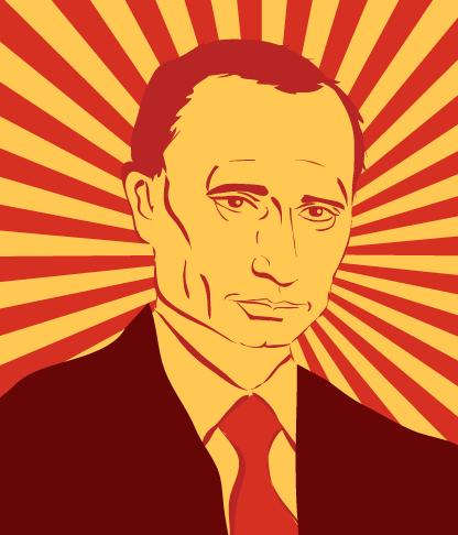 Putin vector art in the style of russian propaganda poster