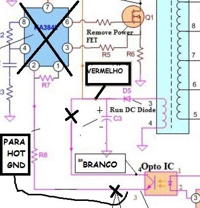 Modificação na ligação do acolador óptico