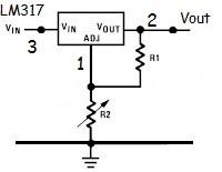 Circuito básico de aplicação do LM317