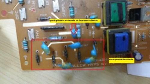 Placa de uma fonte de impressora laser
