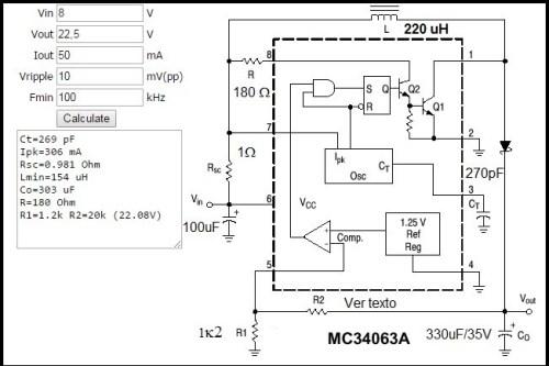 Circuito do conversor 9V para 22,5V