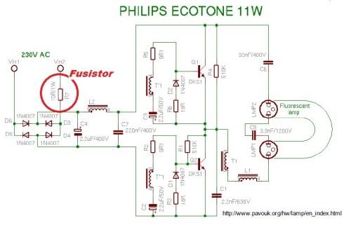 Esquema do circuito da lâmpada