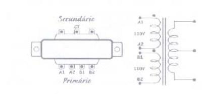 Esquema de um transformador com primário de 4 fios