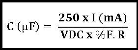 Fórmula para cálculo do capacitor de filtro