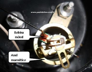 Vista interna de um galvanômetro de bobina móvel