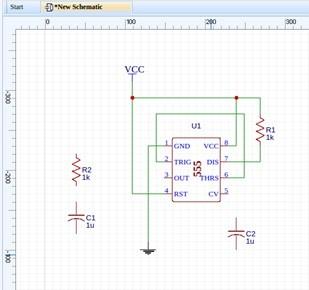 Fig. 4 – Começando a desenhar o circuito no easyEDA