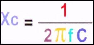 Fórmula para cálculo da reatância capacitiva