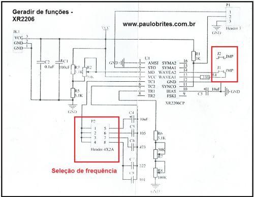 Esquema do gerador de funções com XR 2206