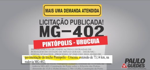 Estrada entre Pintópolis e Urucuia será asfaltada