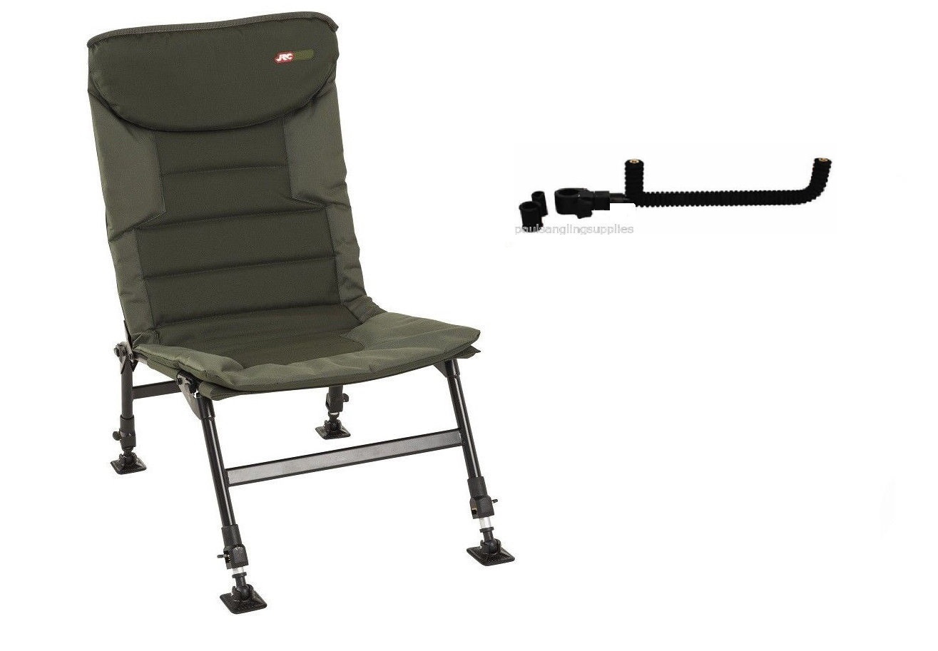 fishing chair legs small swivel jrc folding carp adjustable with feeder rest