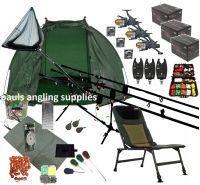 3 Rod Mega Carp Fishing Set Up Kit Rods Reels Chair Alarms