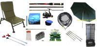 Float Fishing Kit Shakespeare Rod + Reel Chair Net Umbrella