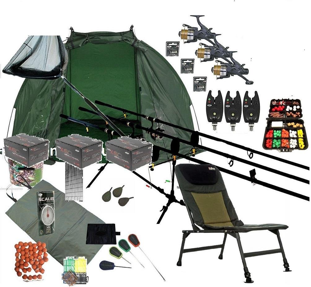 fishing chair with adjustable legs rentals charlotte nc 3 rod mega carp set up kit rods reels alarms