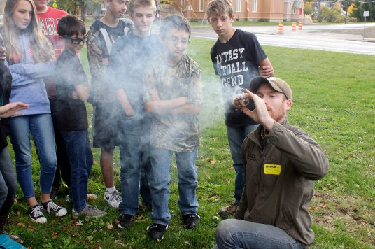 Students at Richfield Springs Central School got a taste of primitive fire making.