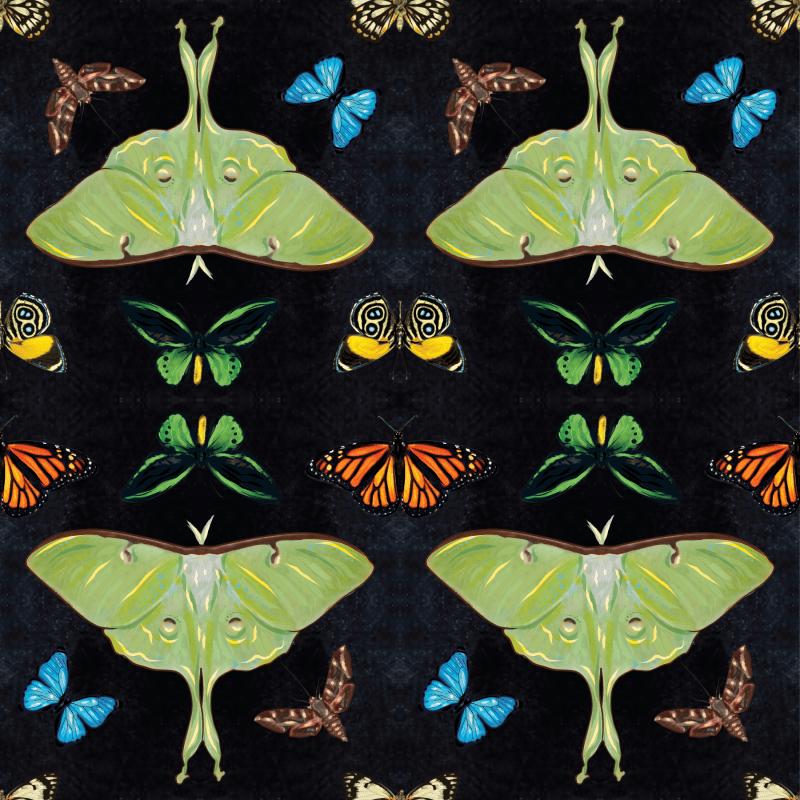 Paul S OConnor Midnight Moths Textile Print Pattern