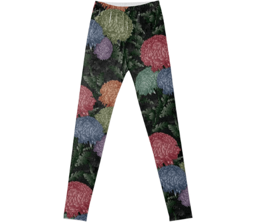 Paul S OConnor Psilo Chrysanthemum Textile Pattern Print Leggings