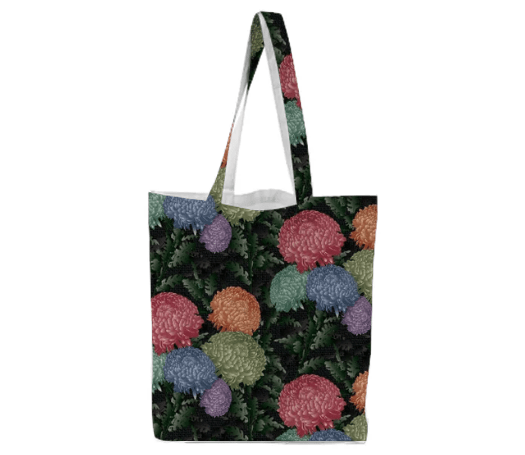 Paul S OConnor Psilo Chrysanthemum Textile Pattern Print Tote Bag