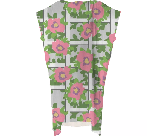 Paul S OConnor Rosa Trellis Textile Print Pattern Dress