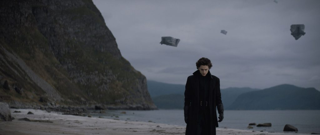A young man (Paul Atreides) looks moody against a bleak landscape in which spaceships fill the sky