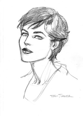 "Here's a head shot of Toni Turner. We decided to reorganize the original ""Models Inc."" story and move it into Marvel's 616 universe. That, unfortunately, meant that we could not use Mary Jane Watson. That left room for another character, and I chose Toni Turner. This is a sketch that Vicenc did to see if he could get her look down. Turns out, yes, he could. I really love this drawing. Toni seems vibrant, and lovely."