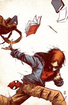 """Cover image for Marvel Adventures: Spider-Man # 53, by Skottie Young, wherein Peter Parker yells, """"Screw homework! I'm Spider-Man!"""" If I'd had his powers when I was sixteen, I'd have been doing this all the damn time."""