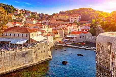 General view of Dubrovnik - Fortresses Lovrijenac and Bokar seen at sunset