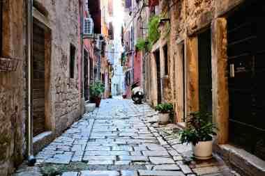 Rustic street in the old town of Rovijn, Croatia