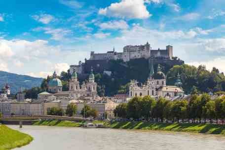 Panoramic view of Salzburg, fortress Hohensalzburg and Salzach river in Austria in a beautiful summer day