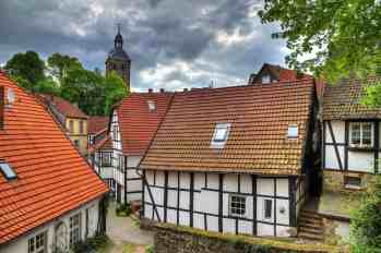 The old town of Tecklenburg in Germany on a cloudy day. HDR