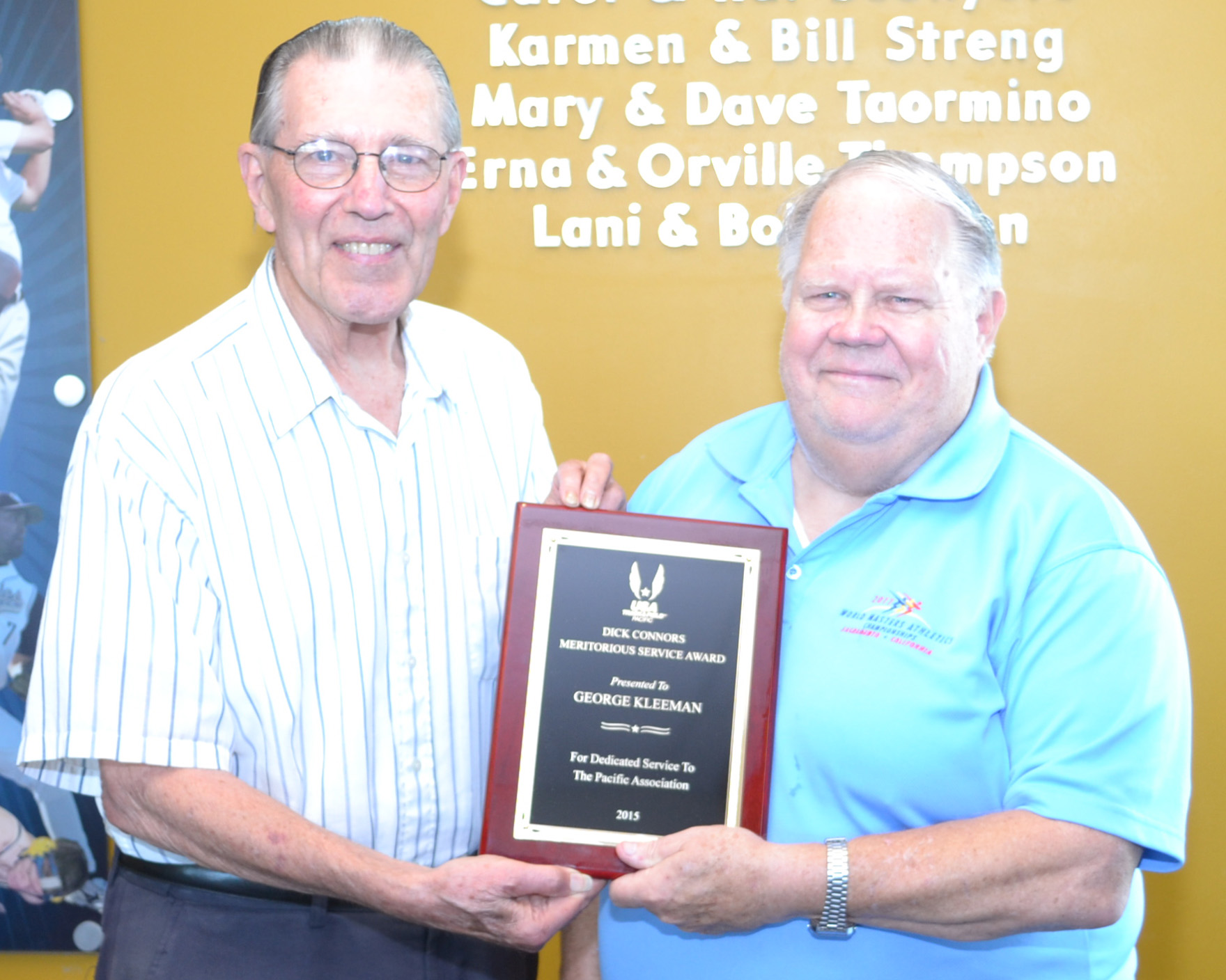 Dick Connors Meritorious Service Award.George Kleeman