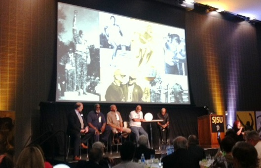 Harry Edwards, Tommie Smith, John Carlos, Lee Evans at SJSU Luncheon