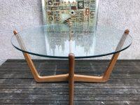 Danish Style Glass Top Teak Coffee Table