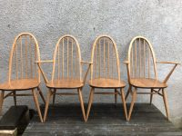 Mid Century 4 Blonde Ercol Windsor Quaker Back Dining Chairs