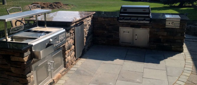 outdoor kitchen oven cabinets with glass or pizza