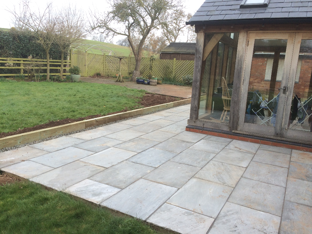 Grey indian sandstone patio Redmarley Gloucestershire