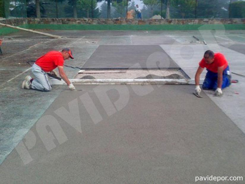 Reparación Pista de tenis con hormigón poroso en Madrid 02