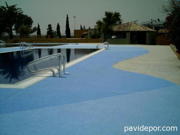 hormigón drenante piscina