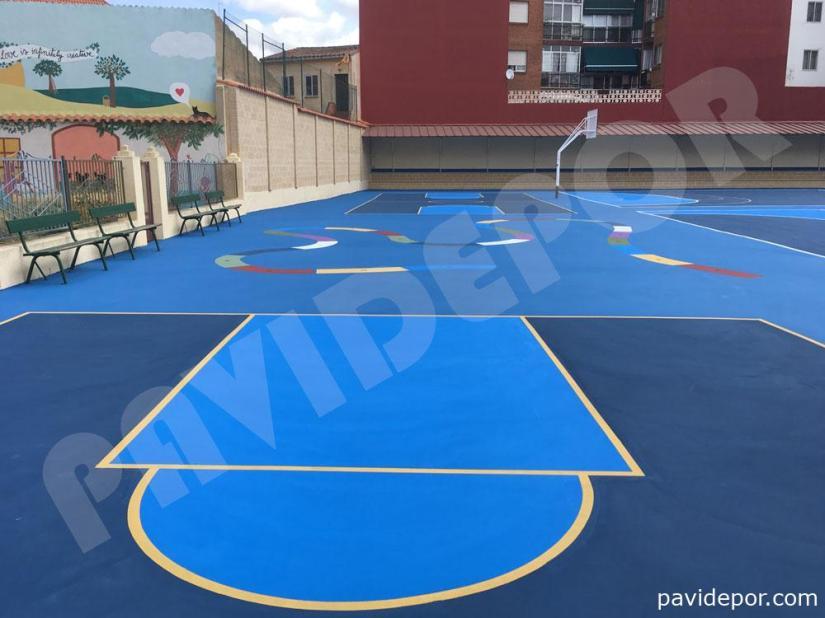 Reparación suelo para pista deportiva de colegio San Vicente de Paul, de Benavente, Zamora