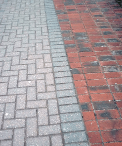 Concrete and clay block paving laid side by side.
