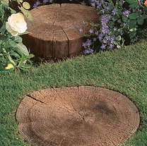 Log effect stepping stones for garden borders and lawns