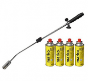 Long handled weeding gas blowtorch for burning and killing moss and weeds