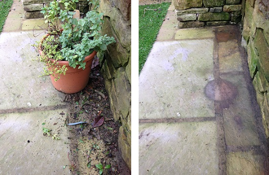 When giving your paving a winter clean move plant containers into new positions to aoid plant pot stains on your paving slabs